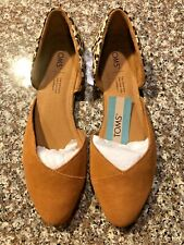 Nwt Toms Julie D'Orsay Women's Slip-On Brown Suede Leopard Flats Print Size 8