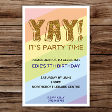 10 *PERSONALISED* party invites INVITATIONS  YAY rainbow GOLD GLITTER FUN