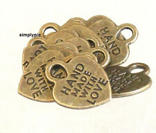 Heart Antiqued Brass Hand Made with Love Charms 10 New Arrivals