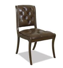 Chesterfield Stuhl Sessel Echtholz Leder Textil Stoff Stühle Echtes Holz Royal