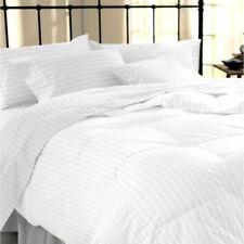 Tc400 Stripe 100 Egyptian Cotton Duvet Cover & Pillow Case Bedding Set All Size White King