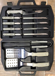Vintage CharBroil BBQ Tool 8 PC Set In Carry Case Kebabs Fish Slice Tongs Knife
