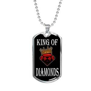 "Casino Poker Jewelry King of Diamonds Dog Tag Stainless Steel or 18k Gold 24"" Ch"