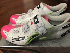 Rare Sidi Wire Carbon Lampre Vernice Size 44 US10 Cycling Shoes White Pink
