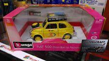 BURAGO Diamond Modèle 1:18 Voiture FIAT 500 FROM BARI TO PECHINO jaune 1:16