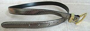 """Karen Scott Women Belt Genuine Snakeskin Shiny Silver sz M Skinny 35"""" tip to tip"""