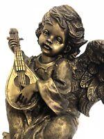 "Cherub Angel Playing Mandolin Sculpture Cold Cast Bronze Resin 7.5"" Romantic VTG"