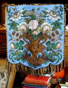 Antique Beaded Fireplace Face Screen with Elaborate Solid Brass Extension/ Clamp
