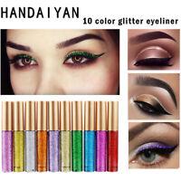 Glitter Liquid Eyeliner Metallic Shiny Smoky Eyes Waterproof Makeup Gold Blue