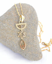 David / Fish. symbol Messianic Necklace&pendant gold rhodium.Menorah / Star Of
