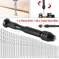 10/16/25/28pcs Twist Drill Bits + Hand Drill Mini Aluminum Alloy Hand Drill Tool