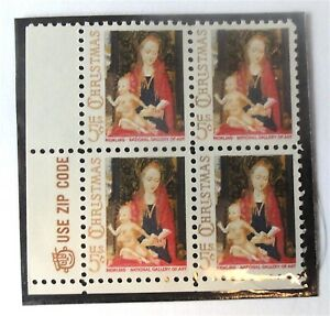 REDUCED! 1967 MADONNA WITH CHILD 5c #1336  2 INSCRIPTION BLOCKS OF 4 STAMPS -MNH
