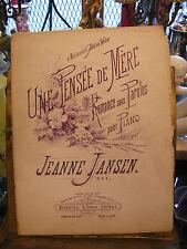 Partitura Une pensamiento madre Jeanne Jansen para Piano