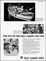 1960 S.S. Hope U S Navy medical hospital ship vintage photo Print Ad adl72