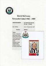 David Mccreery Newcastle Utd 1982-89 Orig Firmado Estatuilla Panini Etiqueta (usado)