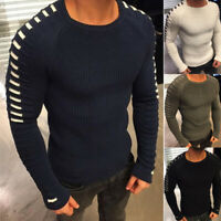 Men's Knitted Crew Neck Long Sleeve Sweater Simple Slim Fit Casual Jumpers Tops