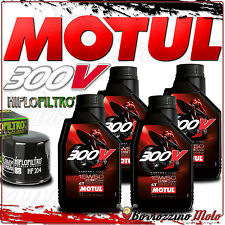 TAGLIANDO OLIO 4 L MOTUL 300 V 15W50 + FILTRO HIFLO TRIUMPH 675 Daytona 2012