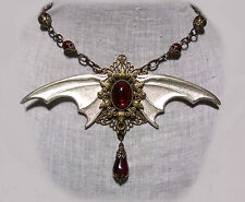 VAMPIRE BAT WING GARNET RED GLASS TEAR DROP NECKLACE GOTHIC HALLOWEEN COSTUME