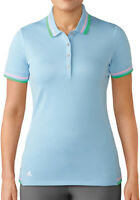 Adidas Ladies Pique Short Sleeve Golf Polo Womens Ice Blue Shirt Size Small New