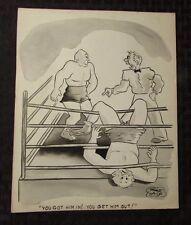 Vintage Charles Chas Sage 8x10 One Panel Gag Original Art B&W w/ Wash BOXING