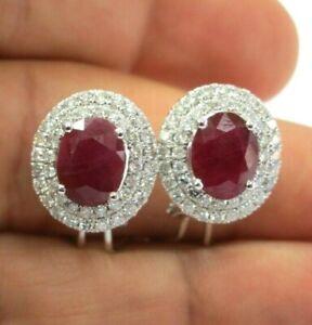 Ruby & Diamond Double Halo Huggie Earrings 5.66CT 14.4mm 14Kt White Gold