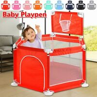 🔥 26'' Folding Portable Playpen Baby Play Yard Home Safety Fence Indoor