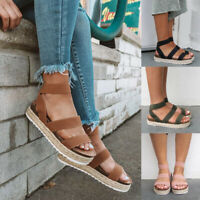 NEW Womens Platform Sandals Espadrille Ankle Strap Comfy Summer Peep Toe Shoes