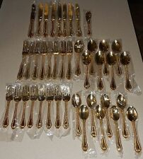 International Silver Co. Golden Gold Plate Flatware Yorkshire New Service for 8