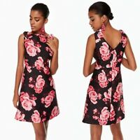 Kate Spade Rambling Roses Rosa A-Line Dress Floral Rose Black Pink Size 2 NEW