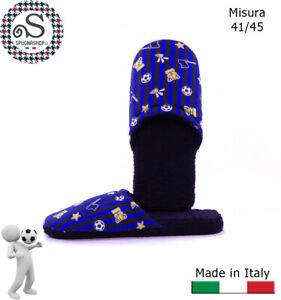 Ciabatte, ciabattine, Pantofole Uomo 41/45 Idea Regalo Nero Azzurro TIFOSO Inter