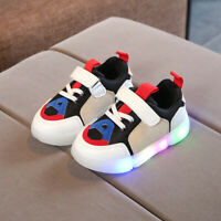 Toddler Kids Led Light Luminous Sport Shoes Baby Boys Girls Splicing Sneakers Up