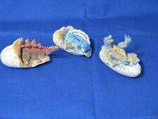 Lot of 3 Baby Hatchling Egg Stegosaurus Dimetrodon & Allosaurus Dinosaurs Aaa