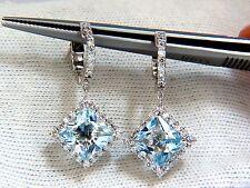 $4500 5.26ct NATURAL AQUA BLUES DIAMOND DANGLE EARRINGS 14KT CLUSTER HALO HOOP
