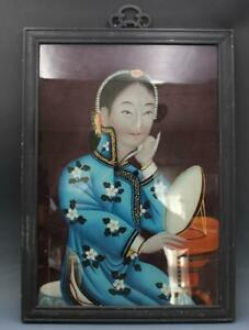 Early 20C Qing Period Chinese Reverse Portrait Painting Woman w/ Mirror
