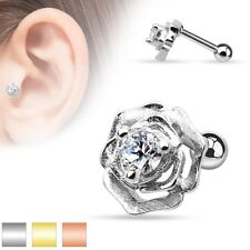 ROSE Flower Stud CARTILAGE EAR Rings Conch HELIX Tragus Barbell Piercing Jewelry