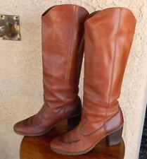 VTG BROWN LEATHER WOMEN'S STACKED HEEL TALL HIPPY BOHO RIDING BOOTS SIZE 7.5 B