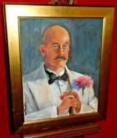 Framed Painting On Canvas - Portrait Of Distinguished Gentleman In White Tux