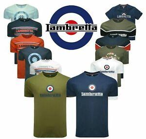 Mens Lambretta Crew Neck T Shirt Designer Branded Top Collar Polo Shirt S-4XL