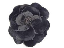 "VINTAGE CLASSIC BLACK VELVET FLOWER CHANEL CAMELLIA CORSAGE PIN BROOCH ~ 3.5"""