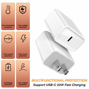 For iPhone 12 Pro/11/12 Pro Max/XR/iPad Fast Charger 20W PD Power Adapter Type-C