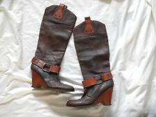 Miss Sixty botas, marrón, tacón de cuña, Cowboy Style, talla 41, tacón alto, muy cool