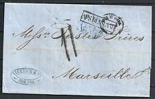 Russia 1856 folded letter Odessa to Marseille + Postmarks