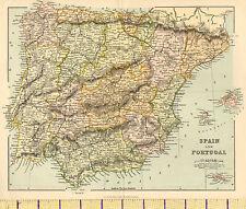 C1880 mapa España & Portugal ~ ~ Málaga Galicia Gibraltar inserción Mallorca