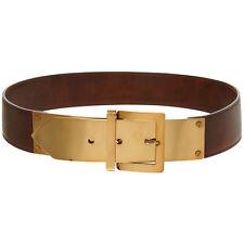 Stella McCartney Brown Gold Metal Buckle Faux Leather Belt - Small Medium 75