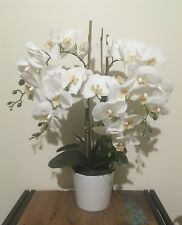 Artificial Fake Real Touch White Phalaenopsis Orchid w White Ceramic 65cm H