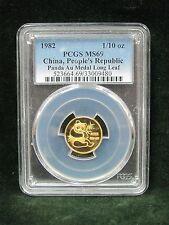 1982 People's Republic of China Panda 1/10 oz Gold Medal Long Leaf PCGS MS 69