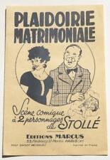 Format partition - Scène comique de STOLLE : Plaidoirie Matrimoniale * 40's