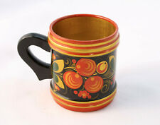 Vintage RUSSIAN KHOKHLOMA Hand Painted Flowers Lacquer Gilt Wood Mug Cup Soviet