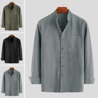 Mens Vintage Cotton Linen Long Sleeve Casual Blouse Tops Tee Business Work Shirt
