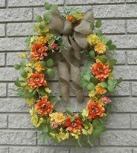 "24"" Oval Yellow Buttercup Orange Zinnia Floral Summer Spring Vine Door Wreath"